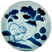Plate with design in blue underglaze of Mouse Eating a Turnip