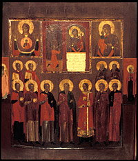 con with images of the Virgin and Standing Saints