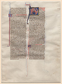 Page from a Latin Bible with Miniature of King David and Psalm 36:37–40 through Psalm 39:1–7,