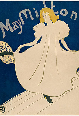 "Henri Toulouse Lautrec (French, 1864–1901), ""May Milton,"" 1895. ink on paper, color lithograph 31-1/2 x 22-1/2 inches, PD-US-expired"