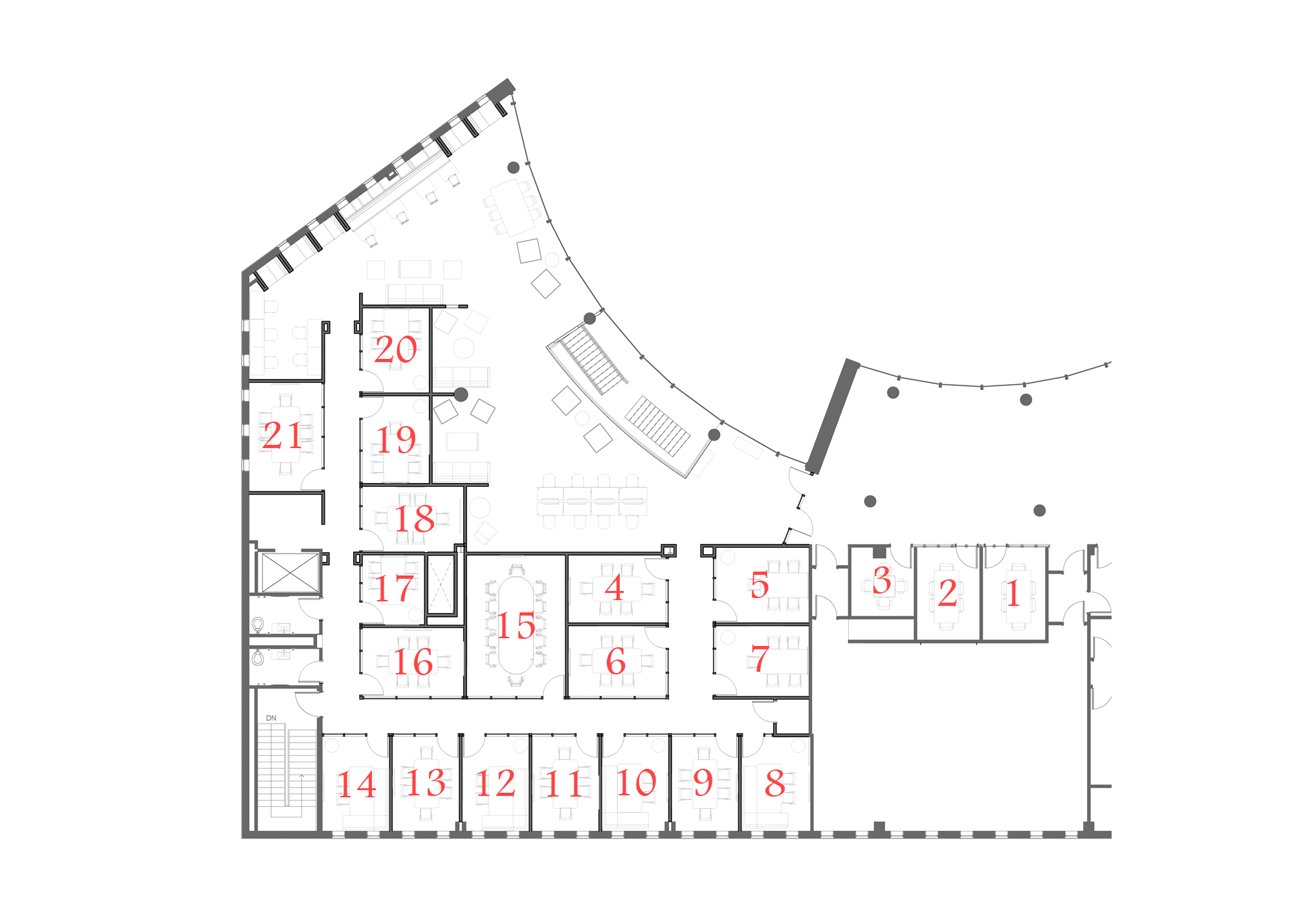 Map of Walker Management Library team rooms