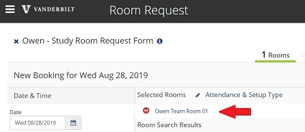 Selected Room Confirmation